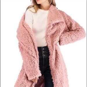Long pink teddy coat